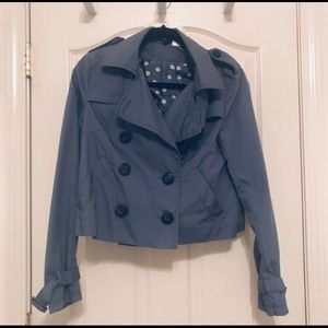 Adorable blue cropped trench coat